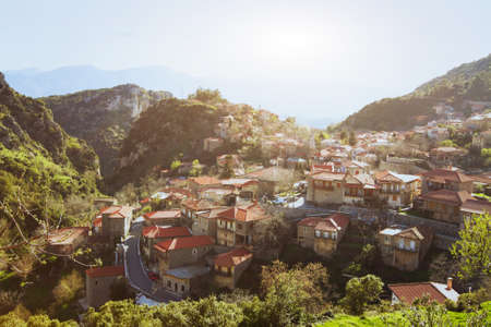 peloponnese: panoramic view of traditional greek village Stemnitsa, Peloponnese, Greece