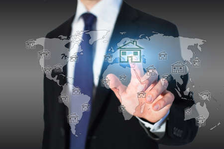 abroad: real estate on the world map Stock Photo