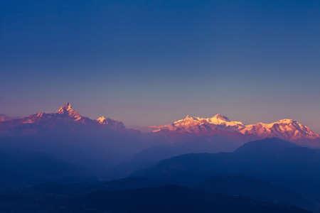 mountain sunset: beautiful sunset over Himalaya mountains