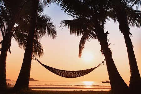 hamaca: hamaca y palmeras en la playa