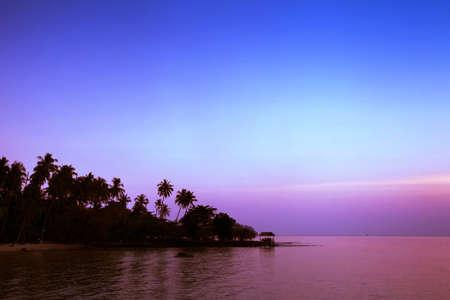 kood: Beautiful purple sunset on the beach, Koh Kood, Thailand Stock Photo