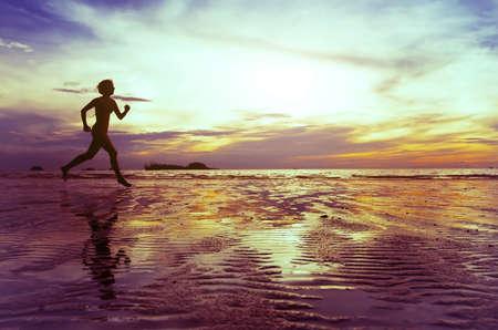 barefoot women: goal, silhouette of barefoot woman running on the beach