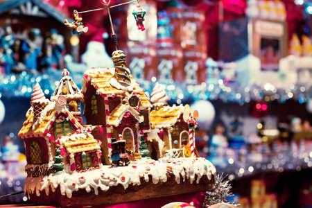 christmas house: christmas market, decorated gingerbread house