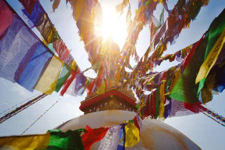kathmandu: prayer flags on Boudhanath stupa in Kathmandu, Nepal Stock Photo