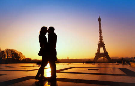 dream honeymoon in Paris, romantic couple silhouette Stock Photo