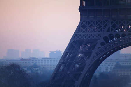 close up of Eiffel tower, pollution in Paris, France Banco de Imagens - 53081224