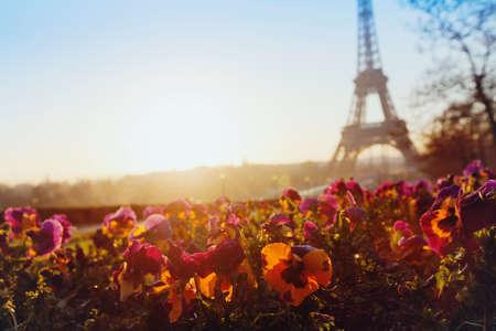 Frühling in Europa, Eiffelturm ungewöhnliche Ansicht, Paris, Frankreich
