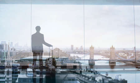 flight ticket: double exposure view of abstract business traveler