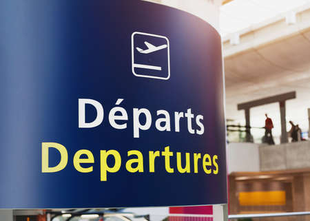 france: Departures sign in airport of Paris