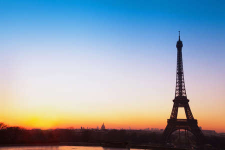 panoramic: Paris panoramic view, silhouette of Eiffel tower at sunrise