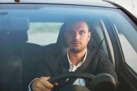 shocked driver in the car Standard-Bild