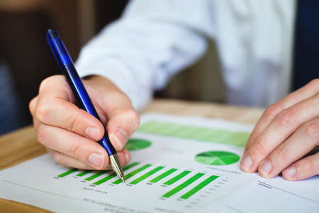financial reports: business analyze sustainable development opportunities Stock Photo