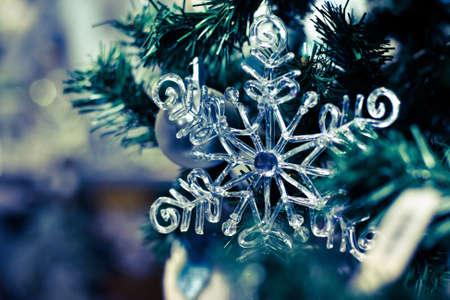 fake christmas tree: snowflake, christmas background Stock Photo