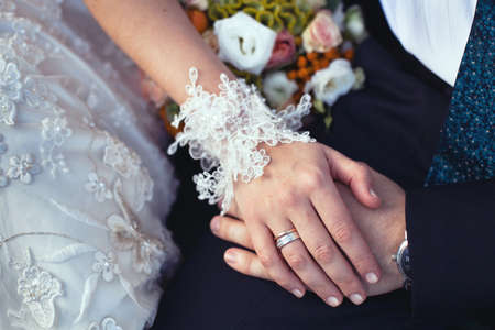 lace gloves: wedding ring and lace bridal gloves