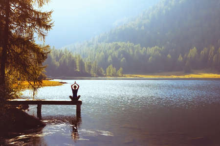 wellbeing and healthy lifestyle concept, yoga background