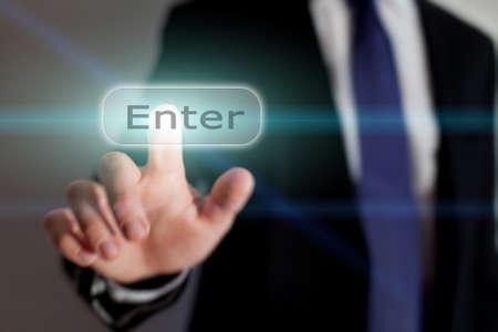 enter button: Enter button, business concept
