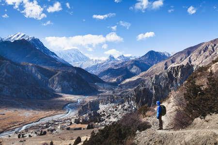 トレッキング、ネパール、アンナプルナ回路表示 写真素材