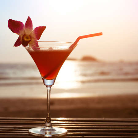 cocktail drinks: beautiful cocktail on the beach