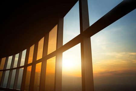 modern business interior, windows of office building
