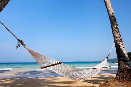 vacances, hamac sur plage paradisiaque Banque d'images