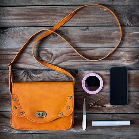 woman bag stuff, handbag Zdjęcie Seryjne - 53109266