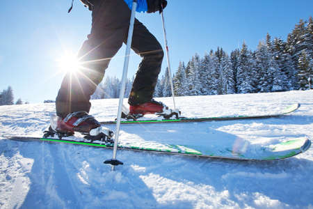 unusual angle: close up of ski low angle Stock Photo