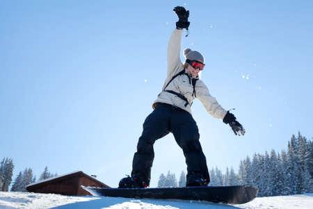 learning snowboard, amateur in ski school