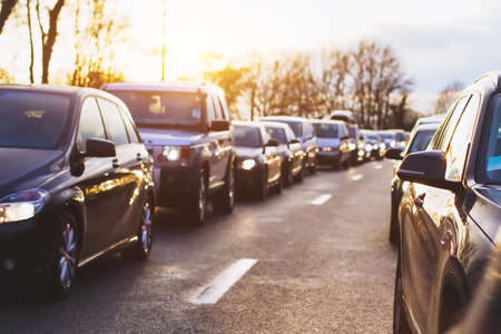 stopped: traffic jam on the highway, cars stopped on the road Stock Photo
