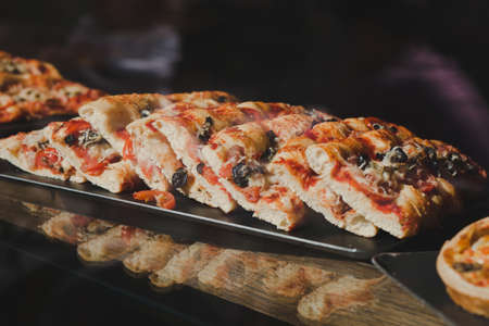 pizza in street fast food cafe Stock Photo