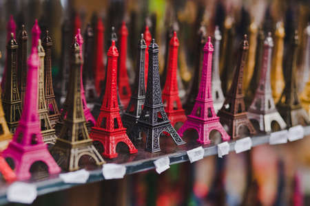 souvenir: souvenir shop in Paris, small Eiffel towers for sale
