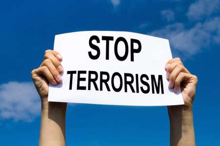 manifest: stop terrorism concept Stock Photo