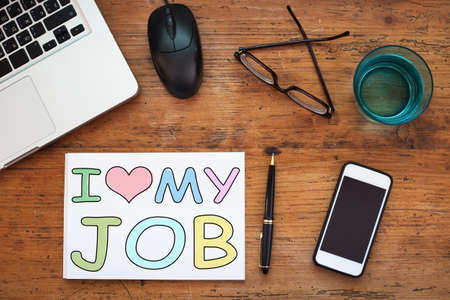 work at home: i love my job, happy employee concept