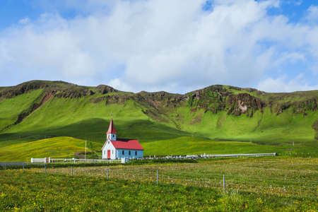 traditional church in Iceland, beautiful landscape