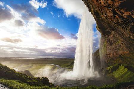 아이슬란드, Seljandafoss 폭포에서 아름 다운 놀라운 풍경 스톡 콘텐츠
