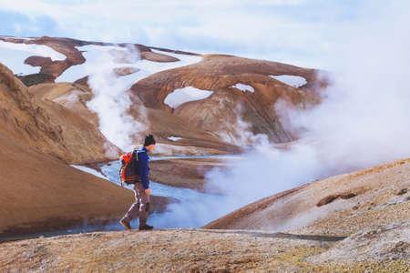 hiking in Iceland, surreal volcanic landscape near Kerligafjoll Stock Photo
