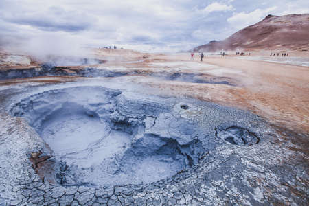 surreal landscape from Iceland, geothermal volcanic area near Myvatn