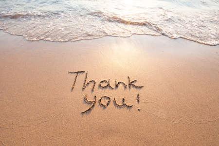 감사, 감사의 개념, 아름다운 카드, 모래 해변에 쓰여진 단어 감사합니다.
