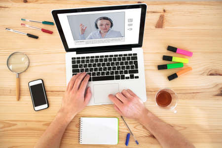 video conference, education online, coaching on internet or webinar 스톡 콘텐츠