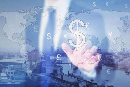 取引、実業家、外貨両替、二重露光