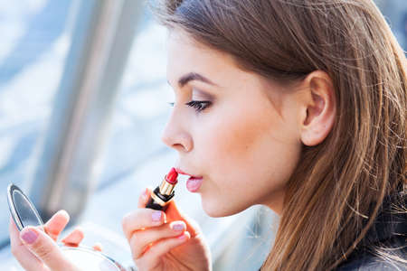 woman with red lipstick, make up Stock Photo