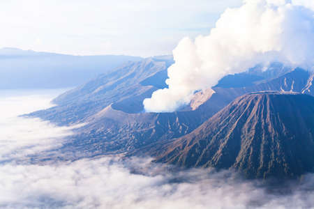 Beautiful landscape of Bromo volcano at sunrise, aerial panoramic view,  Java, Indonesia