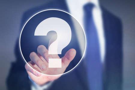 point d'interrogation, concept d'aide aux entreprises sur écran tactile Banque d'images