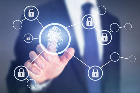 Concepto de acceso de autorización de huellas dactilares, seguridad de información de datos personales