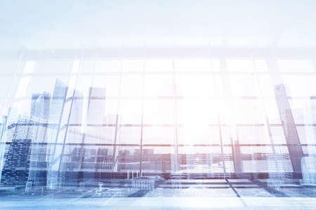 現代ビジネスの背景、オフィスや空港、抽象的なインテリア ガラスの壁 写真素材 - 77408592