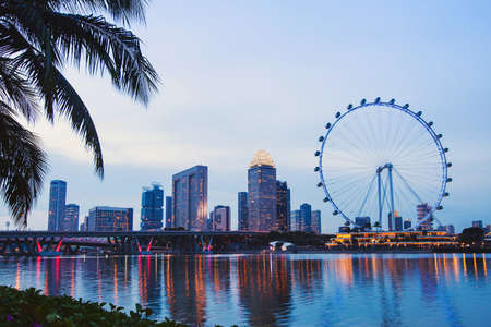 Singapore skyline by night, beautiful cityscape with ferris wheel and reflection in the water Stock Photo