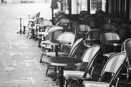 Vintage Paris view, old street traditional retro cafe in France