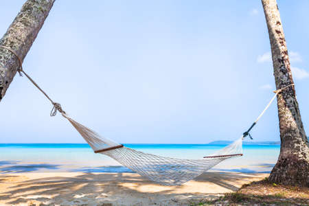 beach holidays on tropical island, beautiful hammock in hotel, relaxation concept background