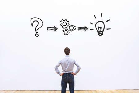 생각 또는 문제 해결 비즈니스 개념 스톡 콘텐츠