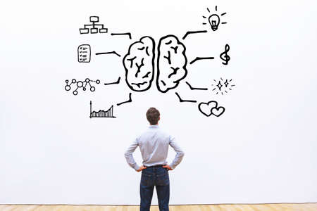 human brain right left concept Stock Photo
