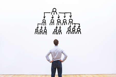 Delegationskonzept, ceo delegieren Aufgaben an Mitarbeiter des Unternehmens Standard-Bild